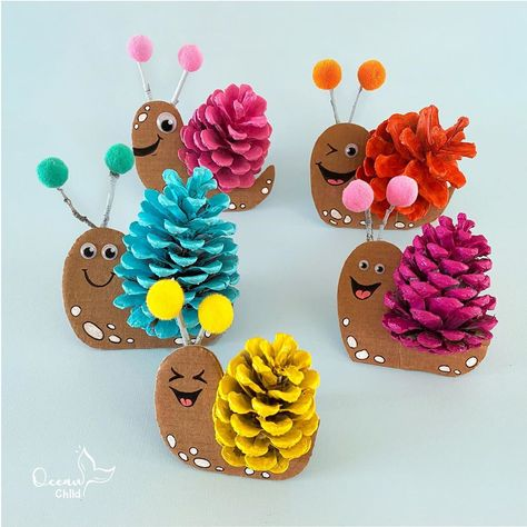 """Ocean Child Crafts on Instagram: """"Pinecone rainbow snails! 🌈🐌 This easy and fun craft activity will cheer up every kids room.   Supplies: pinecones, sticks, paint,…"""""""