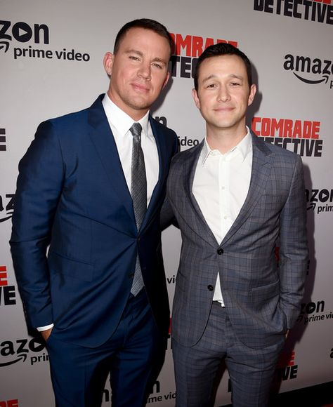 "Actors Channing Tatum (L) and Joseph Gordon-Levitt arrive at the premiere of Amazon's ""Comrade Detective"" at the Arclight Theatre on August 3, 2017 in Los Angeles, California."