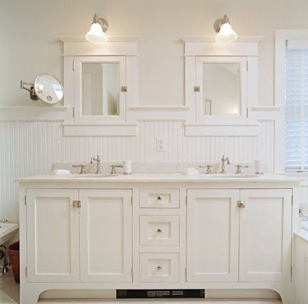 Image Result For Wainscoting Behind Vanity With Medicine Cabinets Home Depot Bathroom Beadboard Bathroom Cottage Style Bathrooms