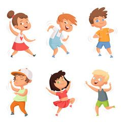 Happy Childhood Various Funny Dancing Kids Vector Image On Vectorstock Kids Vector Cartoon Character Design Cartoon Kids