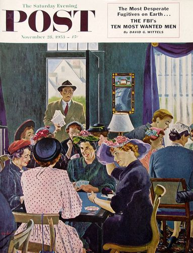 Saturday Evening Post Cover featuring Bridge Playing