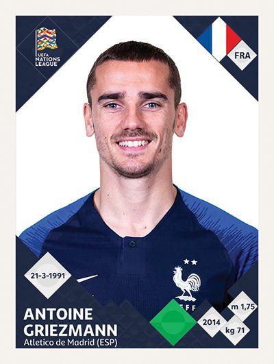 Panini Uefa Nations League Mock Up Sticker Antoine Griezmann France Griezmann Griezmann France Antoine Griezmann