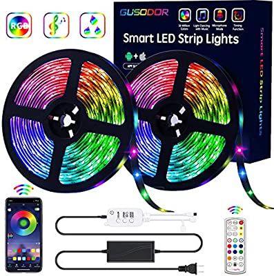 Amazon Com Gusodor Led Strip Lights Rgb Strips 32 8ft Tape Light 300 Leds Smd5050 Waterproof Music Sync Color Ch In 2020 Led Strip Lighting Strip Lighting Tape Lights