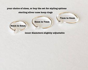 Adjustable Nose Ring Hoop 5mm 6mm 6mm 7mm 7mm 8mm 20 Gauge Nose