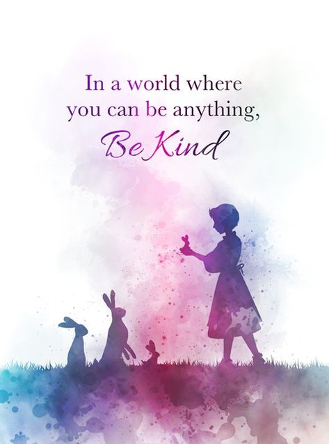 Be Kind Quote ART PRINT Inspirational, Girl, Rabbit, Nursery, Gift, Wall Art, Home Decor, art, quotes, watercolour, gift ideas, birthday, christmas, motivational, In a world where you can be anything, Be Kind #BeKind #Quote #ARTPRINT #Inspirational #Girl #Rabbit #Nursery #Gift #WallArt #HomeDecor #art #quotes #watercolour #giftideas #birthday #christmas #motivational