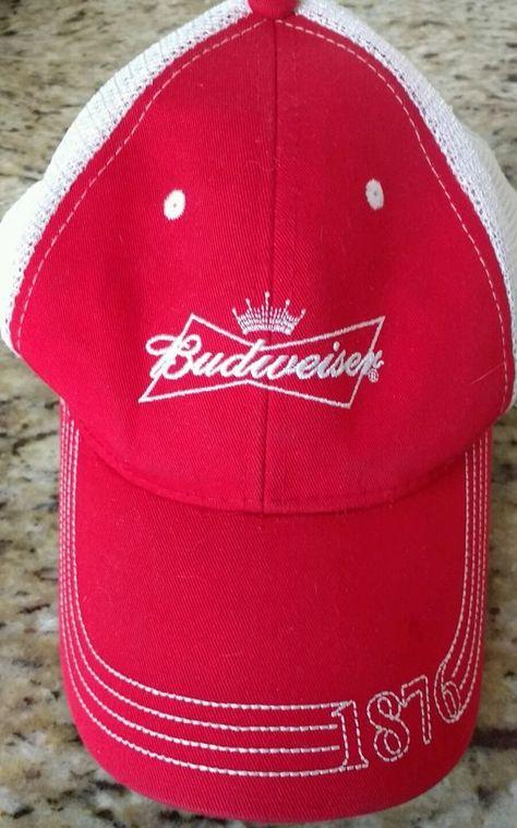 bbb66cfd283 Budweiser Beer 1876 red snapback dad hat baseball cap white mesh  unstructured  Budweiser  BaseballCap