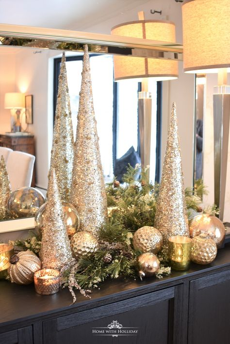 Silver and Gold Glam Christmas Centerpiece - Home with HollidayYou can find Silver christmas and more on our website.Silver and Gold Glam Christmas Centerpiece - Home with. Silver Christmas Decorations, Metal Christmas Tree, Christmas Tale, Christmas Table Settings, Christmas Mantels, Christmas Diy, Christmas Centerpieces For Table, Christmas 2019, Cone Christmas Trees