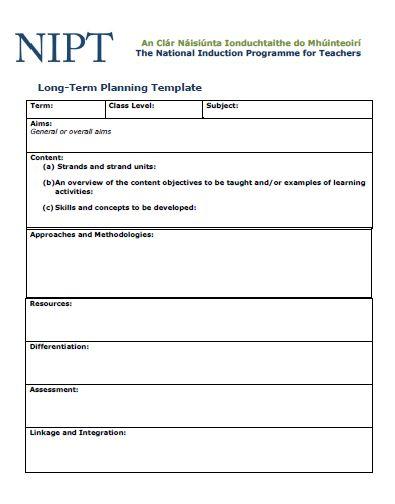 Long Term Planning Template  Treoirlnte Agus Teimplid Do