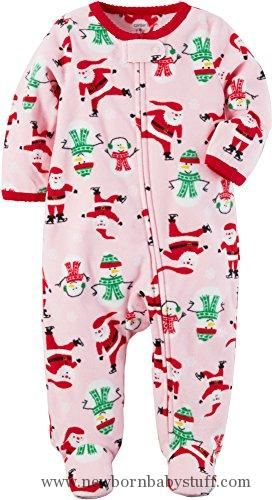 7326bb8b2e Baby Girl Clothes Carter s Baby Girls  Santa Print Fleece Zip Up Sleep And  Play