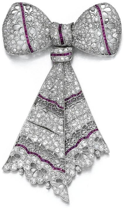 Ruby and diamond bow brooch, 1910