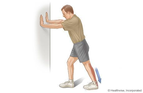 Calf Stretches Works The Calf Muscles Achilles Tendon Do This Exercise 3 Or 4 Times A Day 5 Days A Week Put Calf Stretches Knee Exercises Calf Muscles