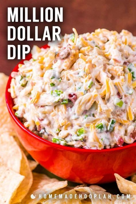 Million Dollar Dip! Also called Neiman Marcus Cheese Dip, this almond, bacon, and cheese recipe started out as a spread and quickly become a crowd-pleasing million dollar dip that's lasted the test of time. It's perfect for making in advance and best served chilled. | #dip #cheese #appetizer #bacon #homemadehooplah
