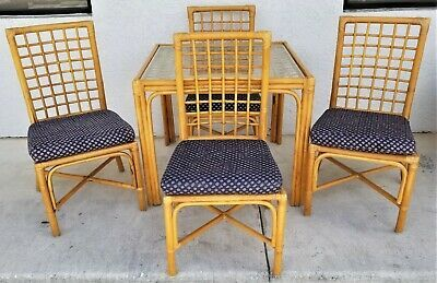 5 Pc Vintage Mcm Boho Bamboo Rattan Bentwood Dining Gaming Table Chairs Set Ebay Table And Chairs Chair Set Rattan