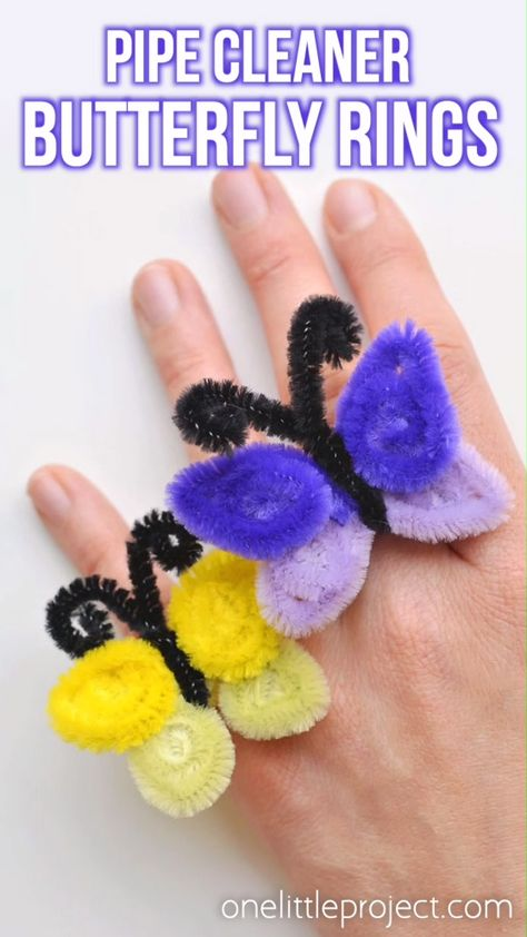 These pipe cleaner butterfly rings are SO SIMPLE to make and they're so pretty! This is such a fun and easy kids craft idea and a super fun summer craft. It's also a great craft for teens, tweens and even adults! All you need are a few pipe cleaners and in less than 5 minutes you can make an awesome homemade ring!