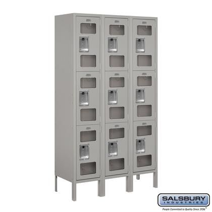 S 63352gy U 12 Wide Triple Tier See Through Metal Locker 3 Wide 5 Feet High 12 Inches Deep Metal Lockers Salsbury Industries Home Lockers