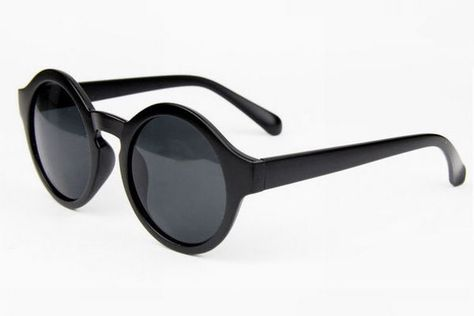 62754c2252044 Vintage Retro Round Sunglasses For Women Matte Black Rounded Circle Frame  Gray Lens