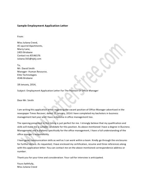 Writing an employment application letter in response of a job - human resource application letter