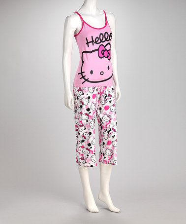 9dea67c1b Take a look at this Pink & White Hello Kitty Cami & Capris - Women by Hello  Kitty on #zulily today!