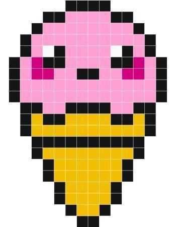 Cute Icecream Wall Stickers Pixel Art Easy Pixel Art Pixel Art Pattern