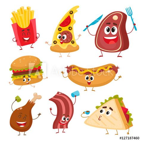 Set Of Funny Fast Food Characters Pizza French Fries Burger Hot Dog Steak Bacon Sandwich And Chicken Leg Funny Fast Food Food Cartoon Cartoon Chicken