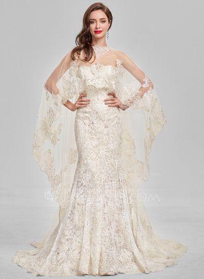 [US$ 280.00] Trumpet/Mermaid Sweetheart Sweep Train Lace Evening Dress  - JJ's House