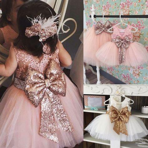 Kids Baby Flower Girls Party Sequins Dress Wedding Bridesmaid Tutu Tulle Dresses