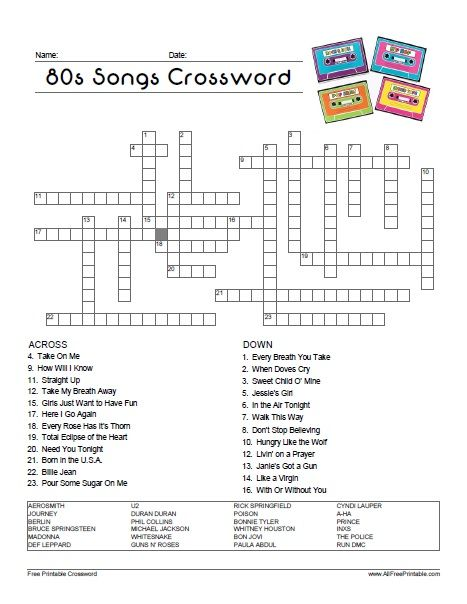 Free Printable 80 S Songs Crossword Throwing An 80s Theme Party Use This Crossword Have 80s Songs 70th Birthday Party Ideas For Mom Fun Christmas Party Games
