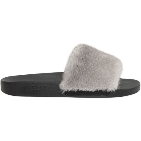 9d0ab61593f9 Givenchy Women Mink Fur   Rubber Slide Sandals ( 525) ❤ liked on Polyvore  featuring