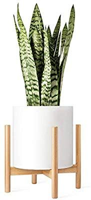 Amazon Com Mkono Plant Stand Mid Century Wood Flower Pot Holder Display Potted Rack Rustic Up To 12 Inch Pl Flower Pot Holder Flower Pots Ceramic Plant Pots