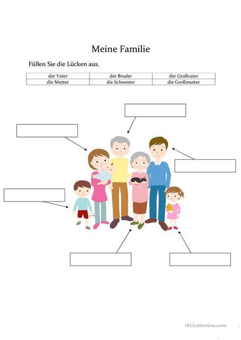 Meine Familie Arbeitsblatt - Kostenlose DAF Arbeitsblätter