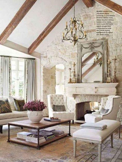 01 Cozy French Country Living Room Ideas | Case da sogno ...