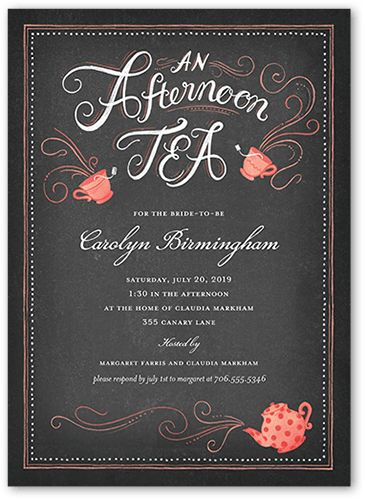 Afternoon Tea 5x7 Stationery Card by Clover. Celebrate the bride-to-be with this bridal shower invitation. Add the celebration details and a favorite photo.