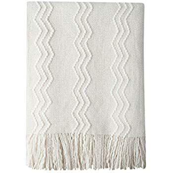Amazon Com Dii Rustic Farmhouse Cotton Thin White Striped Blanket Throw With Fringe For Chair Cou Throw Blanket Decorative Throws Blanket White Throw Blanket