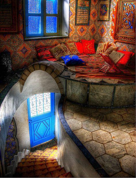 exotic colors in a cozy corner nook.