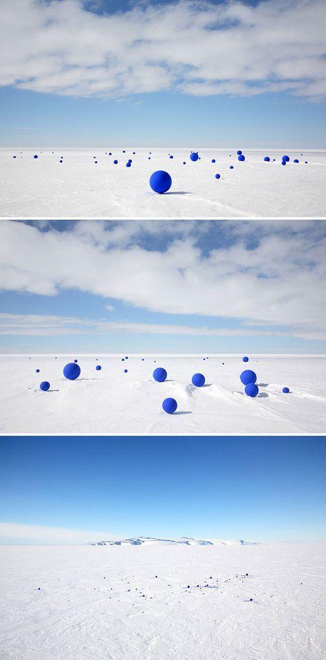 99 blue spheres in antarctica
