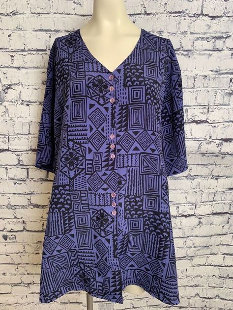 Notations Women Plus Size 24w Purple Black Short Sleeve Button Down