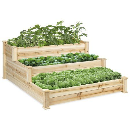 Best Choice Products 3 Tier 4 X 4 Elevated Wooden Garden Bed Planter Kit Natura Vegetable Garden Raised Beds Home Vegetable Garden Wooden Raised Garden Bed