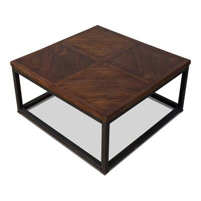 Sarreid Ltd Parquet Low Table Dark Brown 20 X 20 Size 15 H X 32 L X 32 W Table Base Color Black Table Top Color Light Wash Coat In 2020