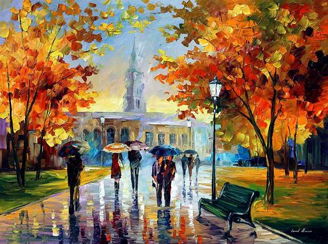 Stroll In An October Park — Palette Knife Landscape Wall Art Oil Painting On Canvas By Leonid Afremov. Size: X Inches x