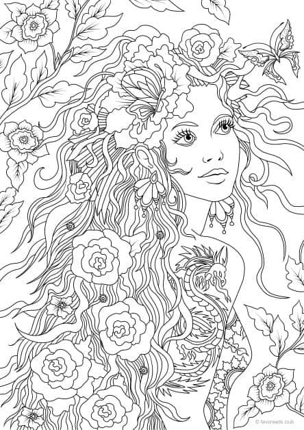 Girl With A Tattoo Printable Adult Coloring People Coloring