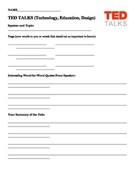 Ted Talks Fill In Worksheet Ted Talks Reading Comprehension