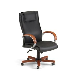 This gorgeous leather and wood chair is also good for your back.  It's ergonomic shape helps you feel better! Brought to you by Shoplet.com - everything for your business.