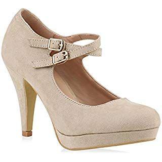 Stiefelparadies Damen Pumps T Strap Spitze High Heels