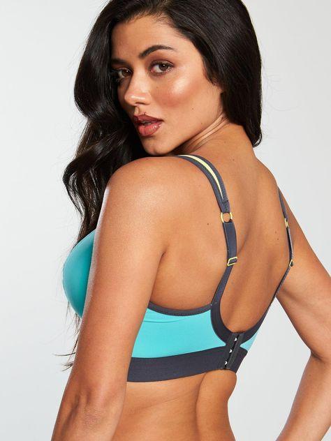 Panache Sport Non Wired Sports Bra - Aqua, Aqua Multi, Size 40, Women - Print - 40