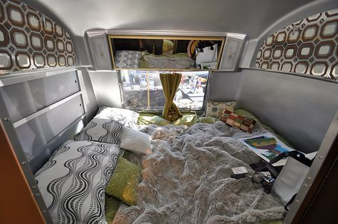 Inside the 1969 Airstream Tradewind bedroom by Airstream Life, via Flickr