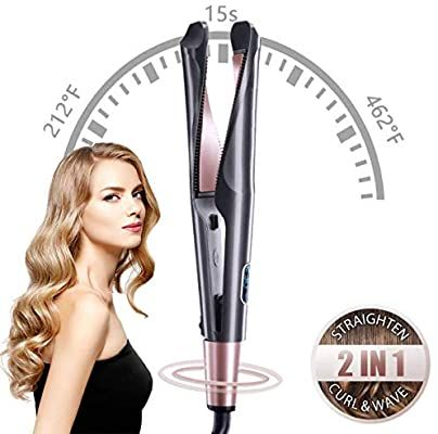 Aukma Hair Curling Irons Hair Straightener 2 In 1 With Rotation Temperature Contorl Ceramic Hair Straightening Iron Curling Hair With Wand Straight Hairstyles