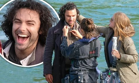 Poldark's Aidan Turner tended to by TWO make-up artists as he films new scenes | Daily Mail Online