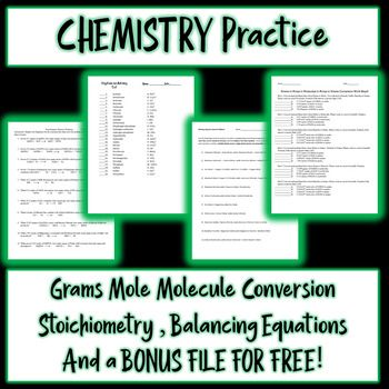 The First Worksheet Allows Students To Practice Grams To Moles To Grams To Molecules Conversions The Second Work She Chemistry Lessons Word Problems Equations