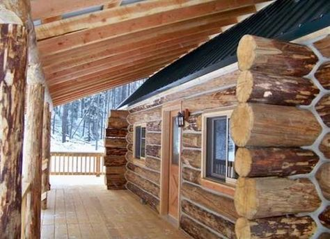 Real log cabin kit home from Montana Mobile Cabins Prefab