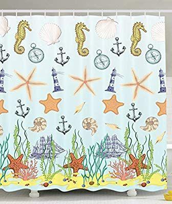 Amazon Com Ambesonne Seahorse Shower Curtain Sea Creatures Lighthouse Nautical Anchor With Sail Bo Nautical Shower Curtains Bathroom Decor Sets Bathroom Decor